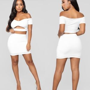 Fashion nova crop top skirt set